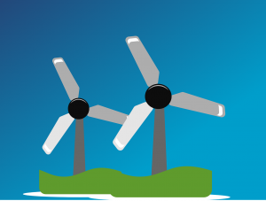 An illustration of two windmills.