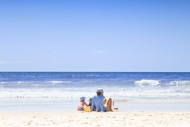 Family on a beach.